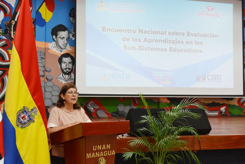 Maestra Ramona Rodríguez, presidenta del CNU y rectora de la UNAN-Managua.