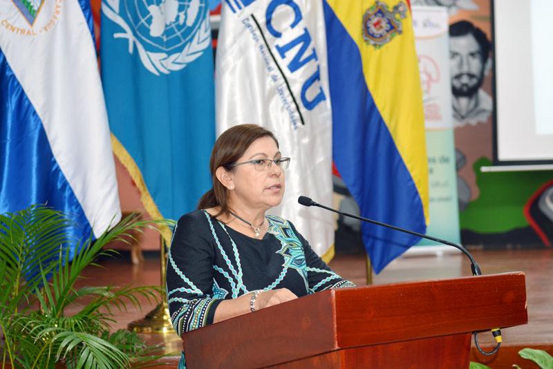 Maestra Ramona Rodríguez, presidente del CNU y rectora de la UNAN-Managua.