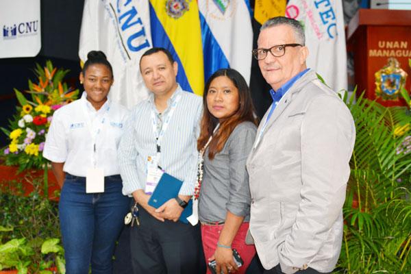 Oshani Davis, BICU; José Medal, UNAN Managua; Meyling Potosme Mercado, UPOLI, y Jorge Castañeda, UPOLI.