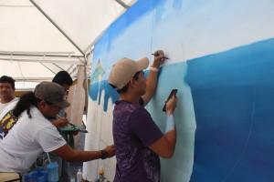 Movimiento Pictórico de la UNI realiza mural inspirado en el poema Momotombo.
