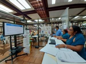 Maestra Maritza Vallecillo, Directora del Sistema Bibliotecario de la UNAN-Managua, brinda informe ante el SIIDCA a nivel del CNU.