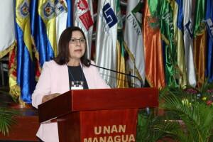 MSc. Ramona Rodríguez Pérez, Presidenta del CNU y Rectora de la UNAN-Managua, durante su discurso.